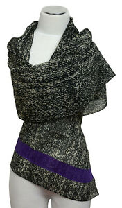 SCIARPA-SCARF-echarpe-100-LANA-RICAMATO-EMBROIDERED-WOOL-Laine-brode-paillettes