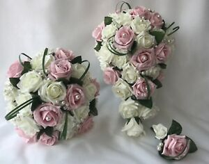 Bouquet Rose Sposa.Fiori Rosa Matrimonio Bouquet Color Avorio Rosa Sposa Damigella