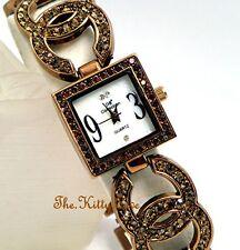 Ladies Bronze Brown Pltd Designer Dress Double Kiss Watch w/ Swarovski Crystals