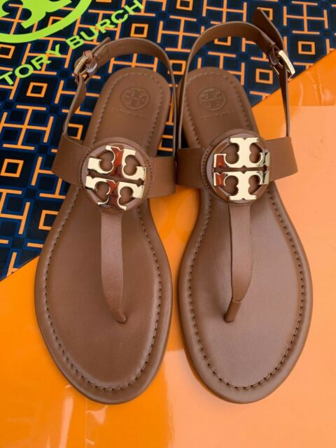 Tory Burch NIB Claire Bryce Flat Thong Sandals Royal Tan Leather Rare MANY SIZES
