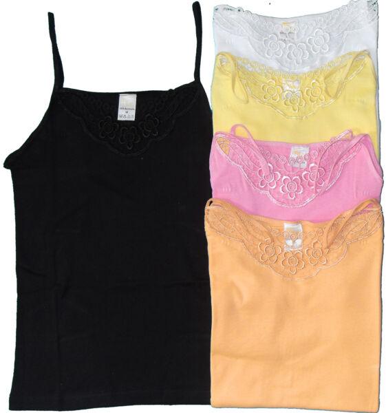 Damen Unterhemd, Top, Spaghetti Träger, S,M,L,XL, 100% Baumwolle, Farbauswahl