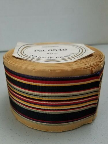 VTG//FRENCH//10-YARD RL//BLK/&MULTI-STRIPE-TRIM Fabric-Edging/&Millinery//GROSGR.RAYON