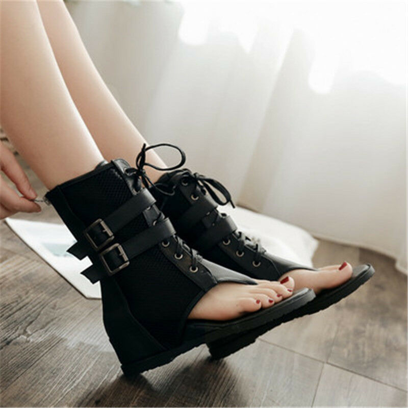 Women's Punk Roman Peep Toe Buckle Gladiator Breathable Sandals Ankle Boots