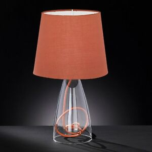 Wofi-Lampe-de-table-CARA-socle-transparent-abat-jour-souple-marron-E14