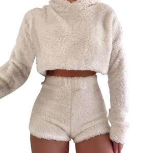 Womens Co-Ord 2pcs Fleece Set Fluffy Crop Tops Tank Shorts Lounge Wear Tracksuit