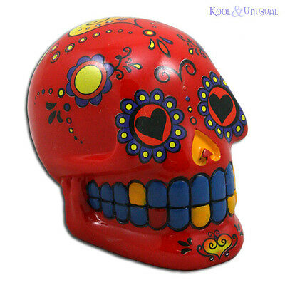 Fabulous Mexican Day of the Dead RED SUGAR SKULL Money Box Bank