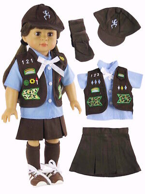 4pc Daisy Scout Uniform Shorts Shirt Cap Doll Clothes For 18 American Girl Debs
