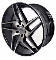 4 GWG Wheels 20 inch STAGGERED Black RAZOR Rims fits 5x112 MERCEDES S550 (222)