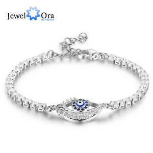 Image Is Loading Evil Eye Bracelet Tennis Silver Crystal Bracelets