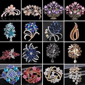 Vintage-Rhinestone-Crystal-Flower-Wedding-Bridal-Bouquet-Brooch-Pin-Jewelry-Gift