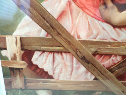 """Victorian Lithograph Print Picture /""""Over The Fence/"""" Little Girl 12X23"""