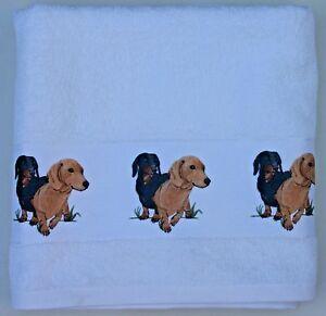 DACHSHUND-DOG-SHORT-HAIRED-LARGE-HAND-GUEST-TOWEL-WATERCOLOUR-PRINT-SANDRA-COEN