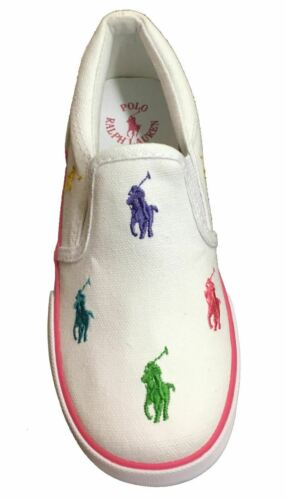 "POLO RALPH LAUREN Kids/' /""Bal Harbour Repeat/"" Canvas Slip On White//Multi"
