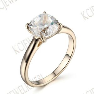 Solitaire-Jewelry-White-Topaz-Solid-14K-Yellow-Gold-Wedding-Fine-Ring-Gemstone