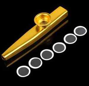 Metal-gold-Kazoo-Kazoo-Flute-Diaphragm-Mouth-Flute-Harmonica-Kids-Party-Gift