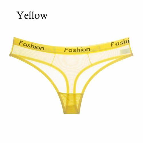 Ladies Seamless Thongs Women Underwear Mesh Briefs Cotton Panties Transparent