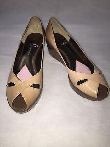 PARIS HILTON Womens Shoes Heels Wedges Patent Leather Beige Size 7.5
