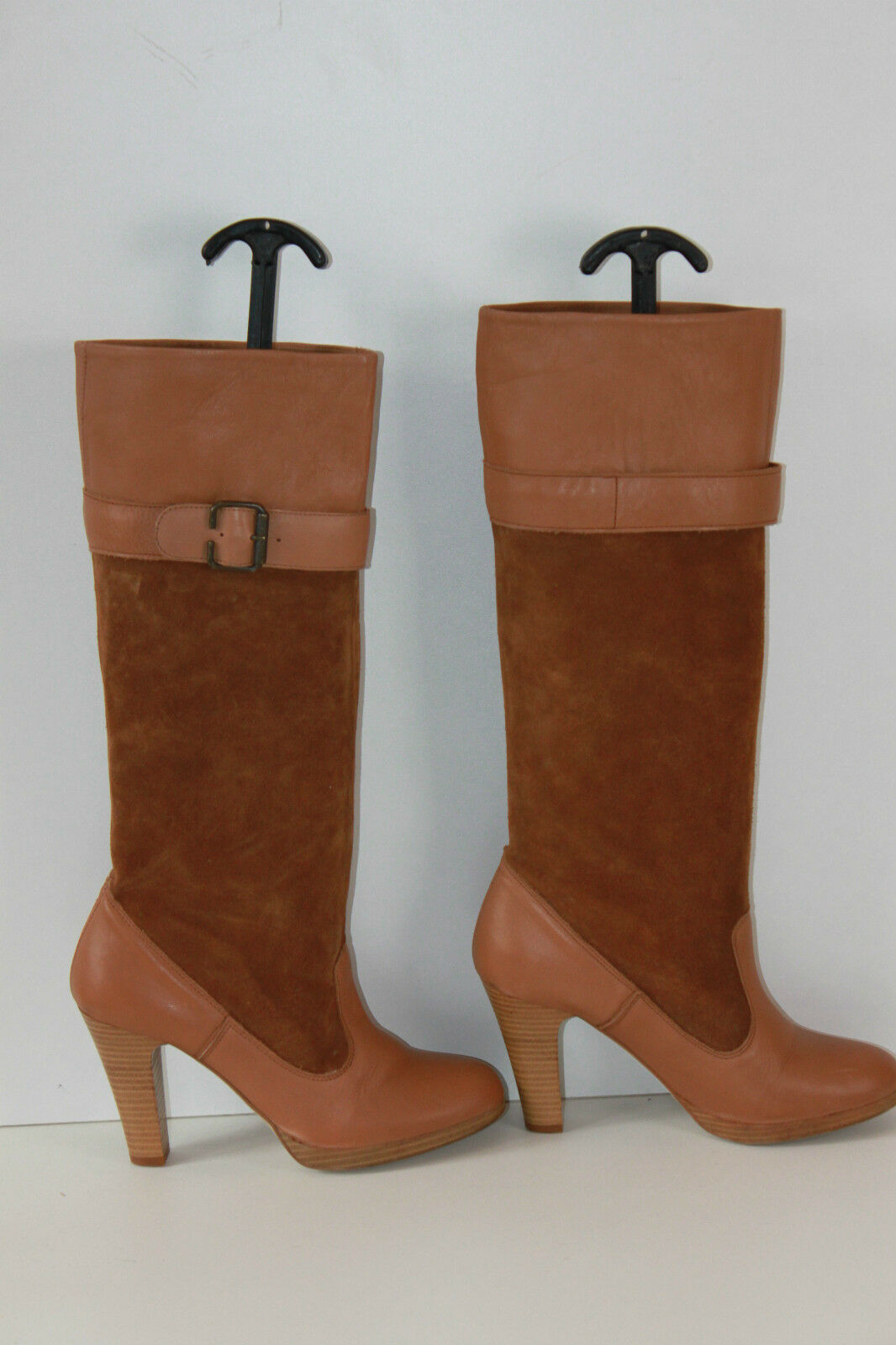 Boots ZARA TRAFALUC Leather and Suede Brown T 39 TOP CONDITION