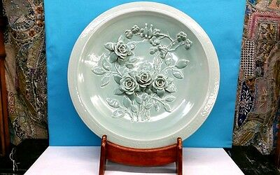 """handmade Chinese Large Celadon Rose Floral Plate 26"""" Wooden Stand Promote The Production Of Body Fluid And Saliva"""