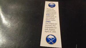1992-93 Buffalo Sabres Discount T-Shirt Coupon - NHL Hockey