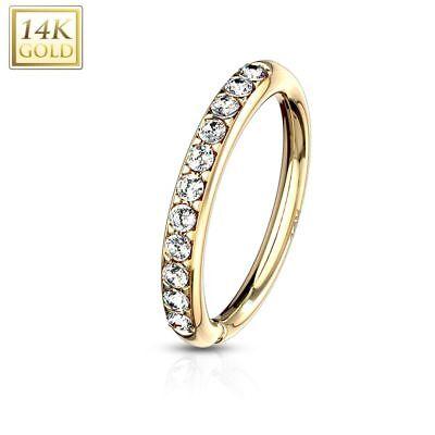 0,07 Carat diamante narices piercing en 585`er 14 quilates circonitas