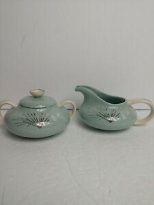 Franciscan-Fine-China-Silver-Pine-Mid-Century-Modern-Cream-amp-Sugar-Set
