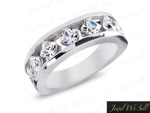 7Stone-2-03ct-Diamond-Wedding-Band-10k-White-Gold-Princess-Cut-G-H-I1-Channel