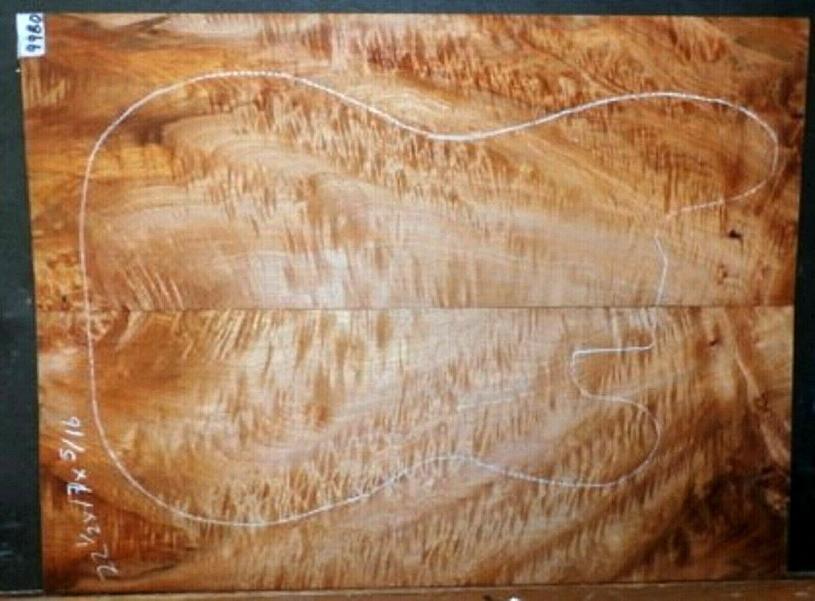 Hard Spalted Curly Maple Wood 9980 Luthier Solid Body top set 22.5 x17 x .312