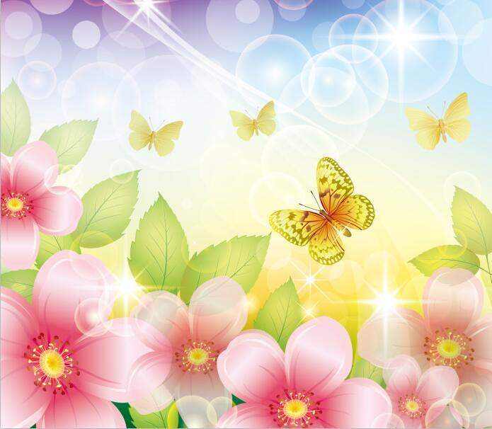 3D Flowers And Butterflies 1 Wall Paper Print Decal Wall Deco Indoor wall Mural