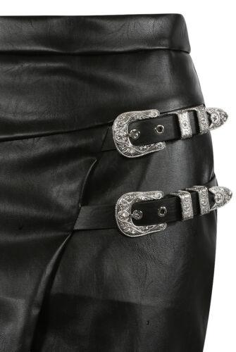 Faux Leather Double Belt Buckle Split Wrap Short Mini Bodycon Skirt Party PU PVC