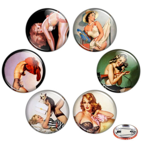 "Pin Up Girls 1.25/"" Pinback Button BADGE SET #1 Novelty Pins 32 mm Mini Gift"
