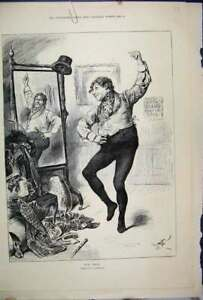 Original-Old-Antique-Print-1892-Man-Dancing-Mirror-Fancy-Dress-Ball-Victorian