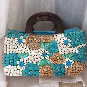 Handbag-Turquoise-With-Ivory-Sea-Shells-Wooden-Handles-Zip-Very-Good-Con
