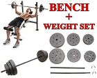 Gold's Gym Weight Bench XR 6.1+ Weight Set 100 lbs Workout Barbell Lifting Home