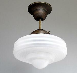 lustre plafonnier art deco bauhaus verre mat clairement laiton antique lampe lumi re ebay. Black Bedroom Furniture Sets. Home Design Ideas