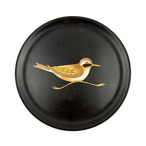 Vtg COUROC Black Lacquer Wood Inlay Southwest Bird Serving Dish Tray Mid Century