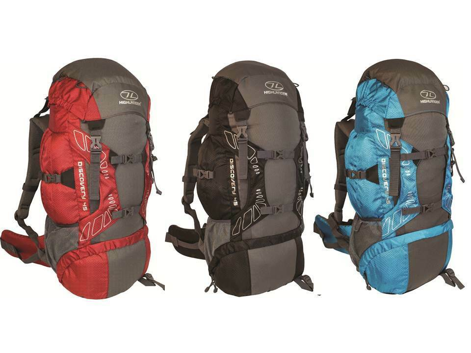 e5bfb4b571b Highlander Discovery 45 Litre Backpack - Chili/Grey, Black/Grey or Teal/Grey