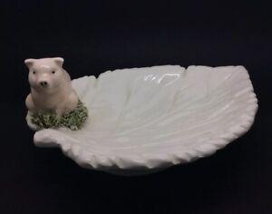 De-Coleccion-Vintage-Italiano-Ceramica-Placa-Hoja-Lucky-Cerdo-GBC-Corona-21-6cm