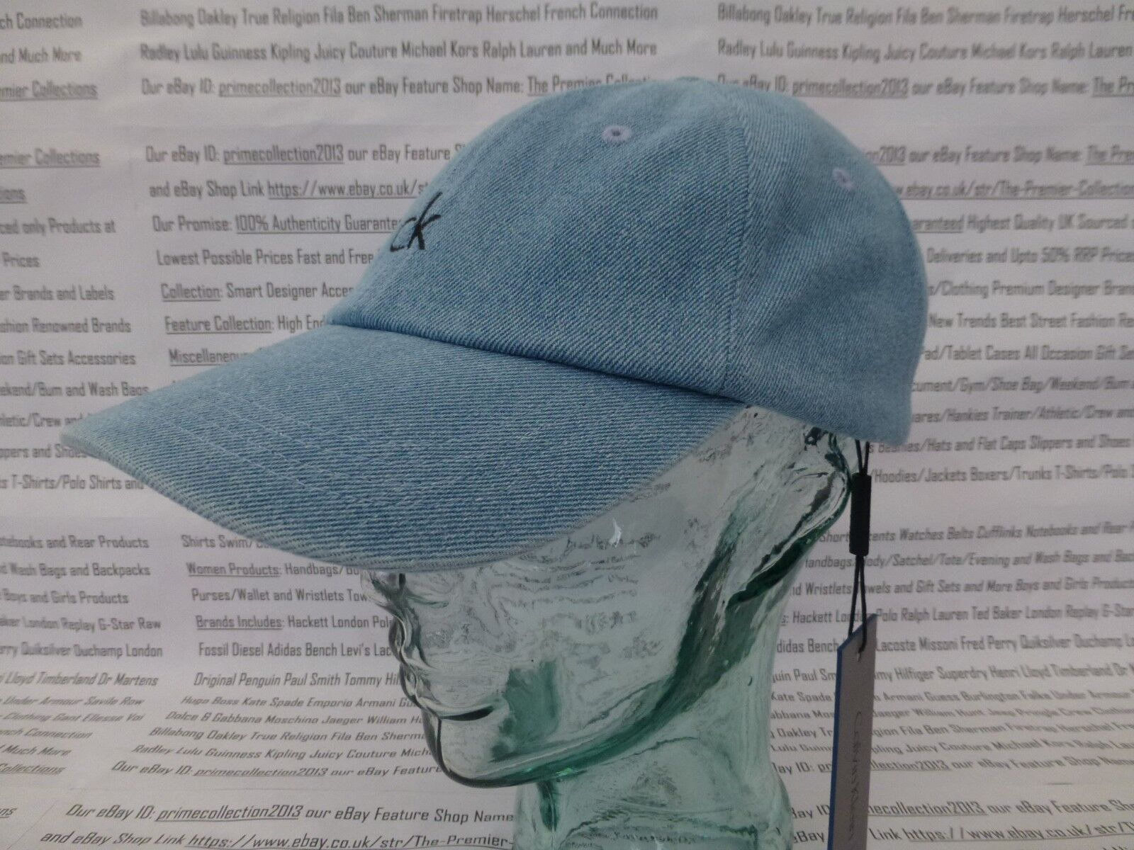 1f69657420d CALVIN KLEIN Baseball Cap Classic Men s Sport Hat Cotton Lt Blue Denim Caps  BNWT