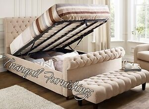 Image Is Loading William Chesterfield Storage End Lift Up Ottoman Bed