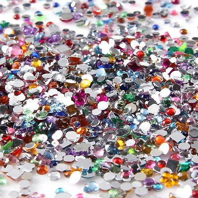 2000pcs Nail Art Flat Back Gems Heart Mixed Shape Rhinestones Acrylic Decoration