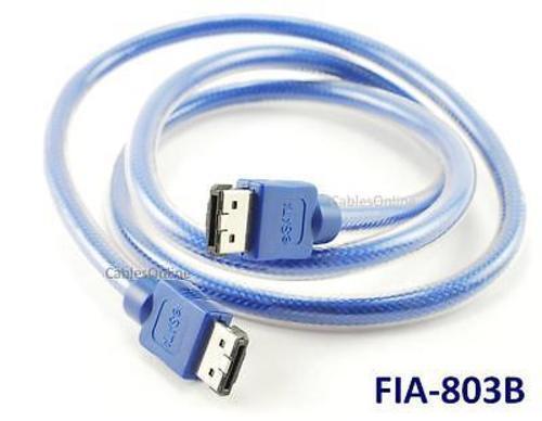 FIA-803B eSATA to eSATA 3GBps Round Data Cable 3ft Blue External Serial ATA