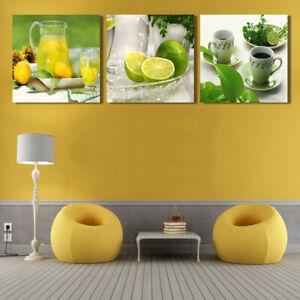 3Pcs-Modern-Tea-Cup-Lemon-Fruits-Canvas-Painting-Home-Wall-Art-Picture-Decor