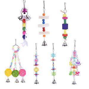 Pet-Bird-Parrot-Parakeet-Budgie-Cockatiel-Loofah-Toy-Wooden-Chewing-Hanging-Toys