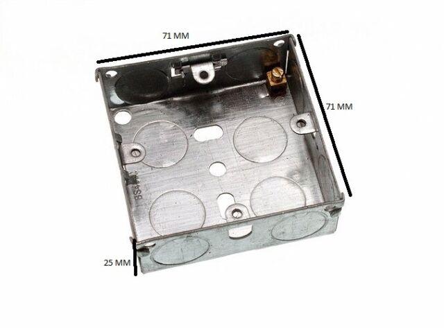 Flush Mount Metal Pattress Electric Back Box Single 1 Gang 25mm Pack Of 50