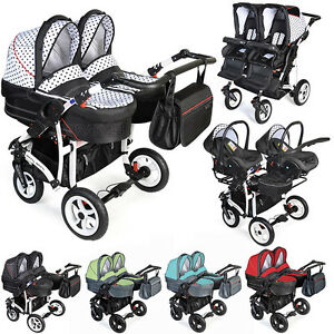 Image Is Loading Double Dorjan Twin Tandem Duo Pram Pushchair Stroller