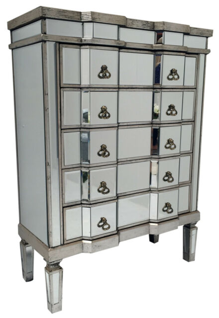 the latest 5fc96 148d1 Chest Of 5 Drawer Bedroom Mirrored Glass Furniture Storage Venetian Retro  Silver