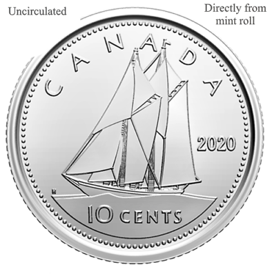 UNC Directly from mint roll CANADA 2018 New 10 cents DIME ORIGINAL BLUE NOSE