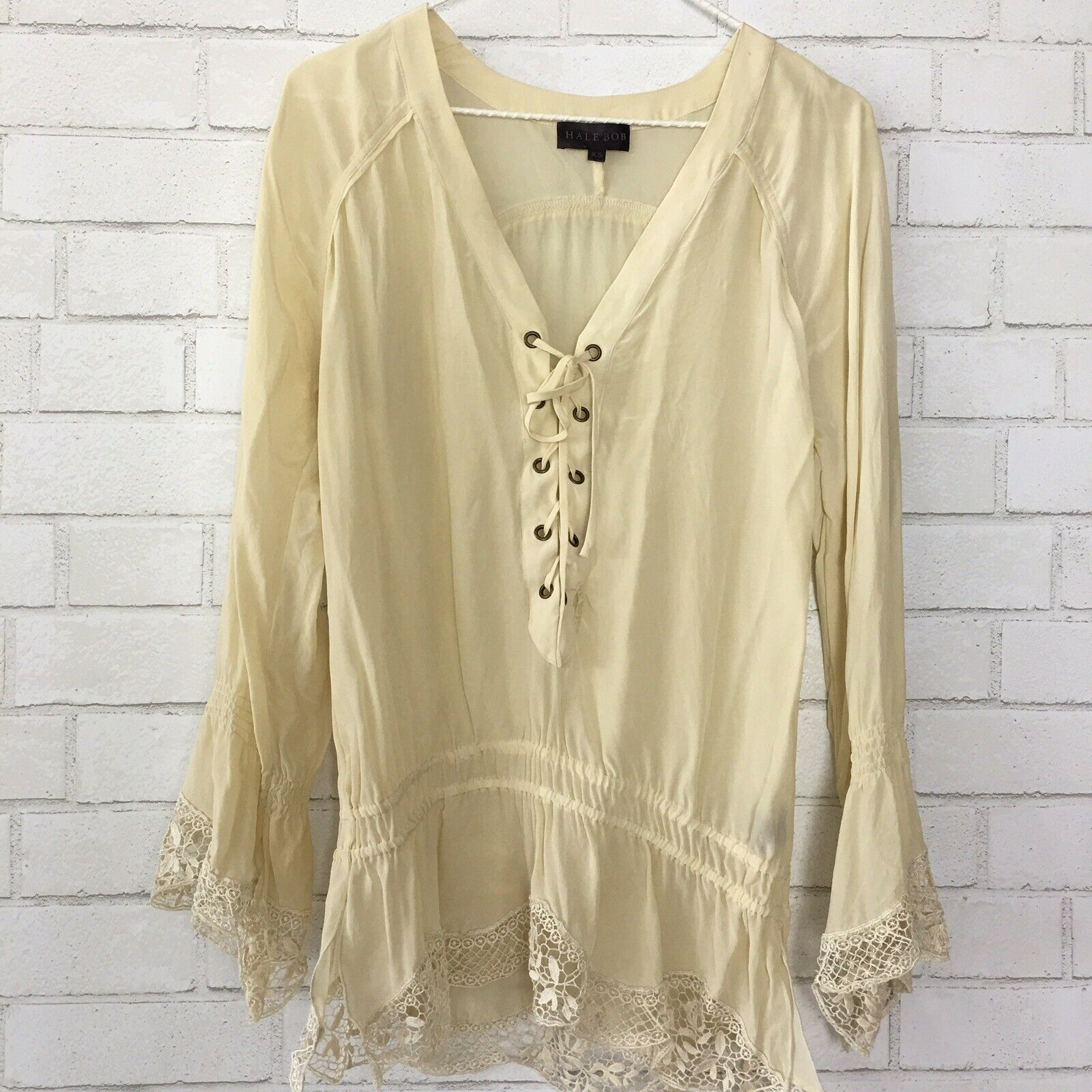 HALE BOB XS Silk Sheer Lace Up Peasant Top Blouse Bell Sleeve Boho Festival