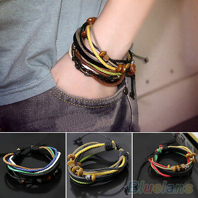 B52U Womens Mens Multilayer Leather Beads Rope Bracelet Bangle Chain Link Charms